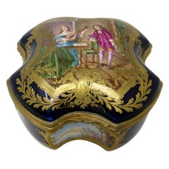 French Sevres Porcelain Hand Painted Jewelry Casket Ormolu Mounts, 19th Century