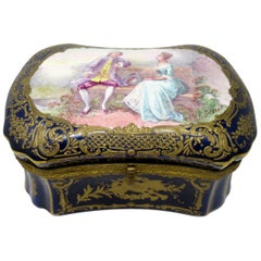 French Sevres Porcelain Hand Painted Jewelry Casket Ormolu Mounts Signed Gilbert