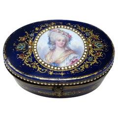 French Sevres Porcelain Hand Painted Jewlery Casket Ormolu Mounts Cobalt Blue