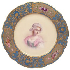 French Sevres Portrait Plate of a Beautiful Woman Artist Signed