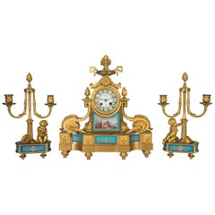 French Sevres Style Clock Set, 19th Century