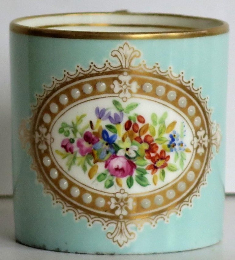 French Sevres Style Jewelled Porcelain Coffee Can Hand Painted Flowers For Sale 5