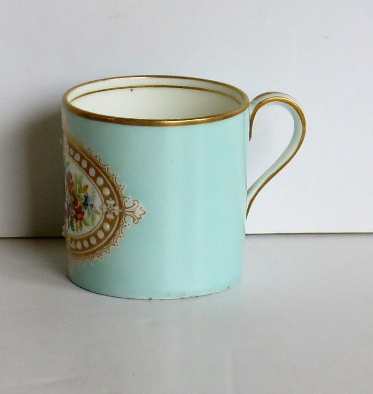 Hand-Painted French Sevres Style Jewelled Porcelain Coffee Can Hand Painted Flowers For Sale