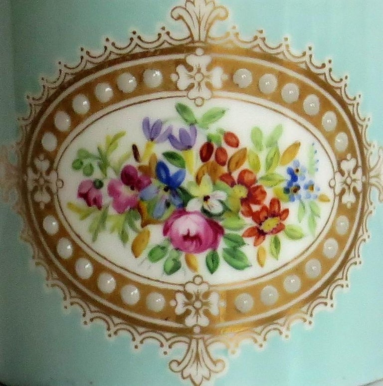 French Sevres Style Jewelled Porcelain Coffee Can Hand Painted Flowers In Good Condition For Sale In Lincoln, Lincolnshire