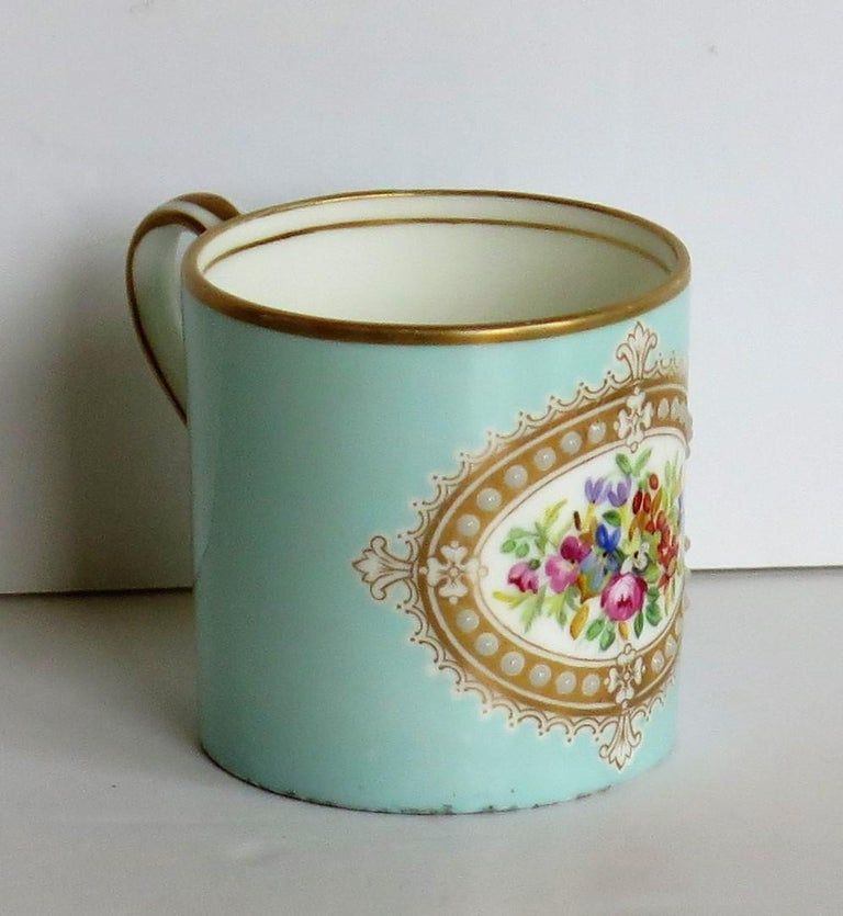 French Sevres Style Jewelled Porcelain Coffee Can Hand Painted Flowers For Sale 1