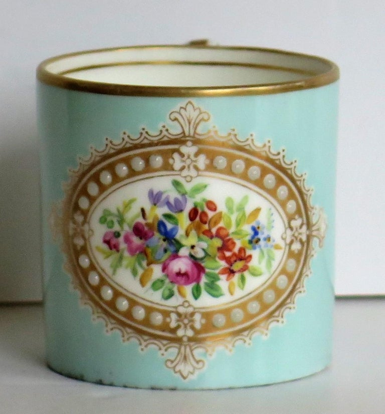 French Sevres Style Jewelled Porcelain Coffee Can Hand Painted Flowers For Sale 4