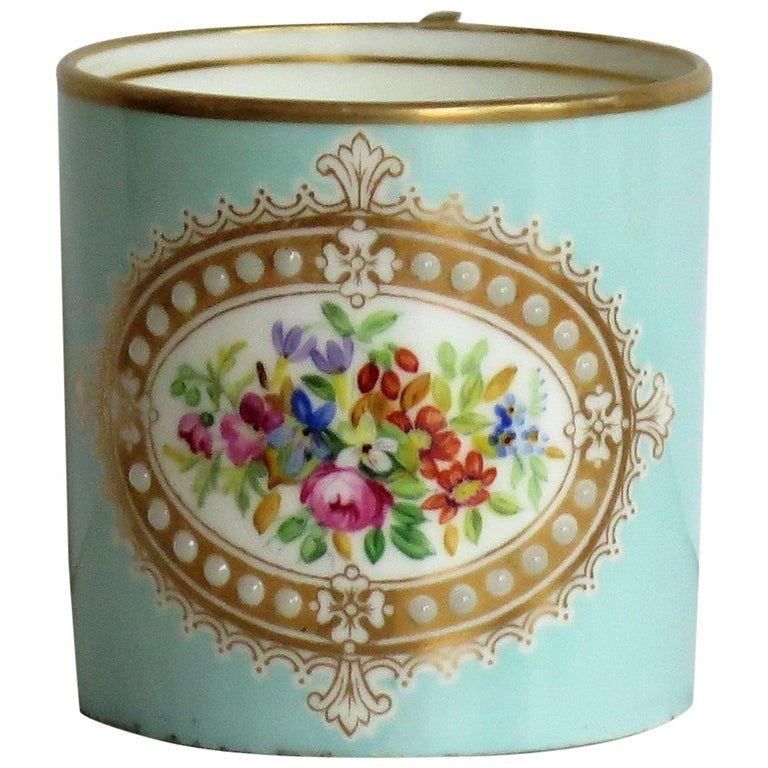 French Sevres Style Jewelled Porcelain Coffee Can Hand Painted Flowers For Sale