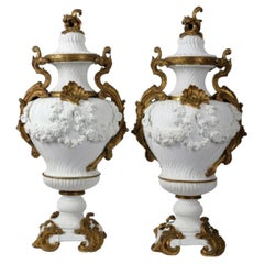 French Sèvres Style Large Pair 19th Century Gilt Mounted Bisque Vases