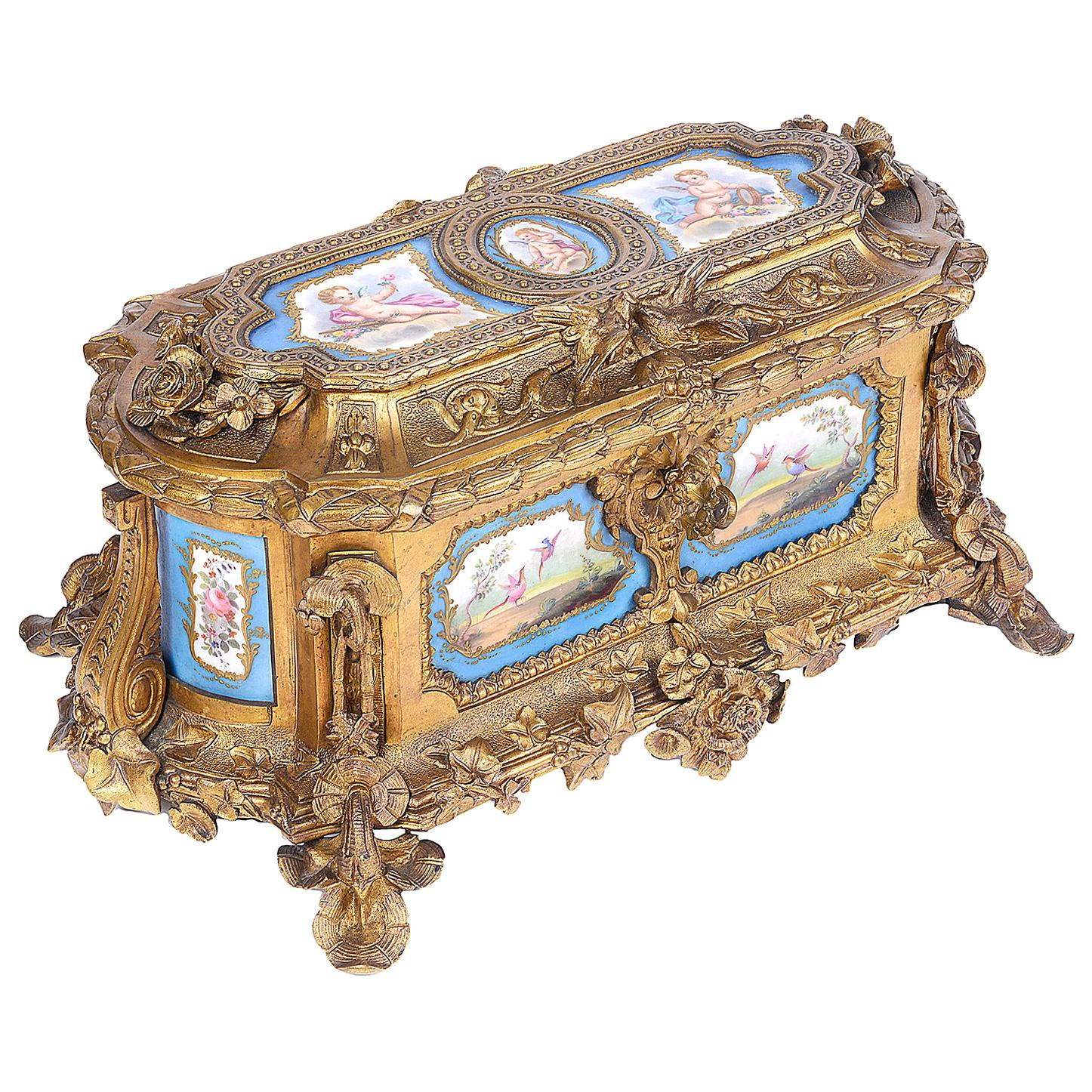 French Sevres Style Porcelain and Ormolu Casket, 19th Century