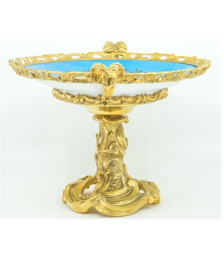 Hand-Painted French Sèvres-style Porcelain Plate in Gilt Bronze Mount For Sale