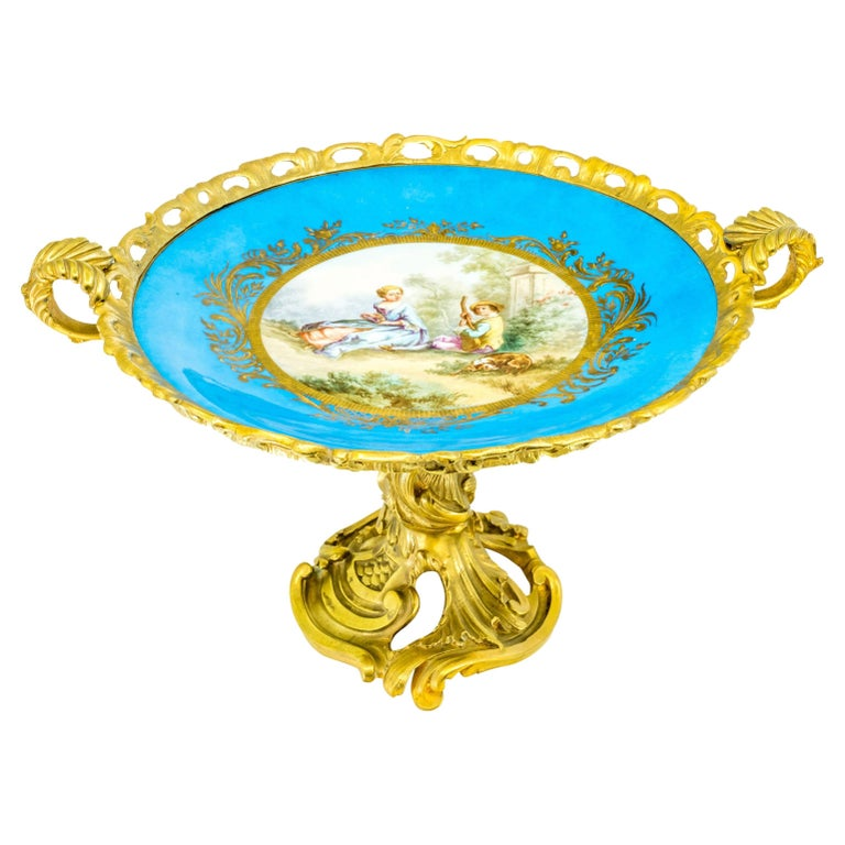 French Sèvres-style Porcelain Plate in Gilt Bronze Mount For Sale
