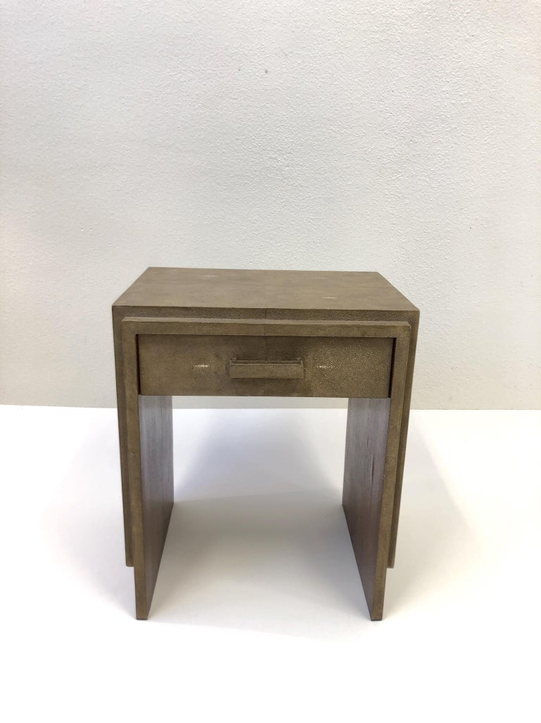 Modern French Shagreen and Mahogany Side Table by R&Y Augousti