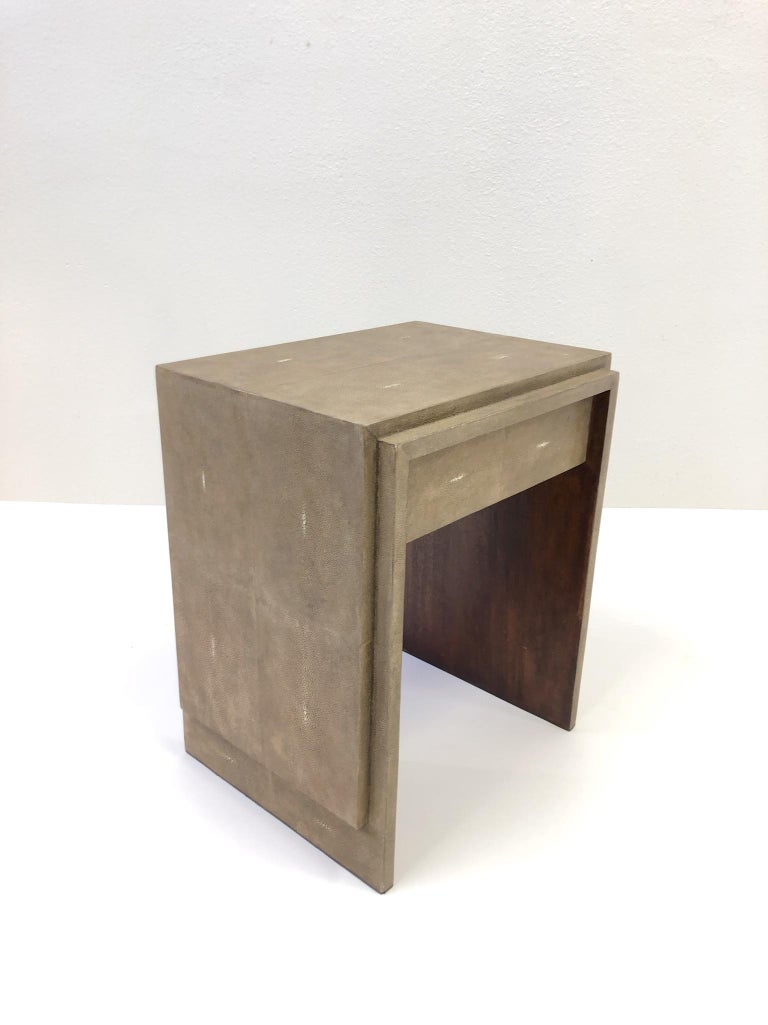 Veneer French Shagreen and Mahogany Side Table by R&Y Augousti