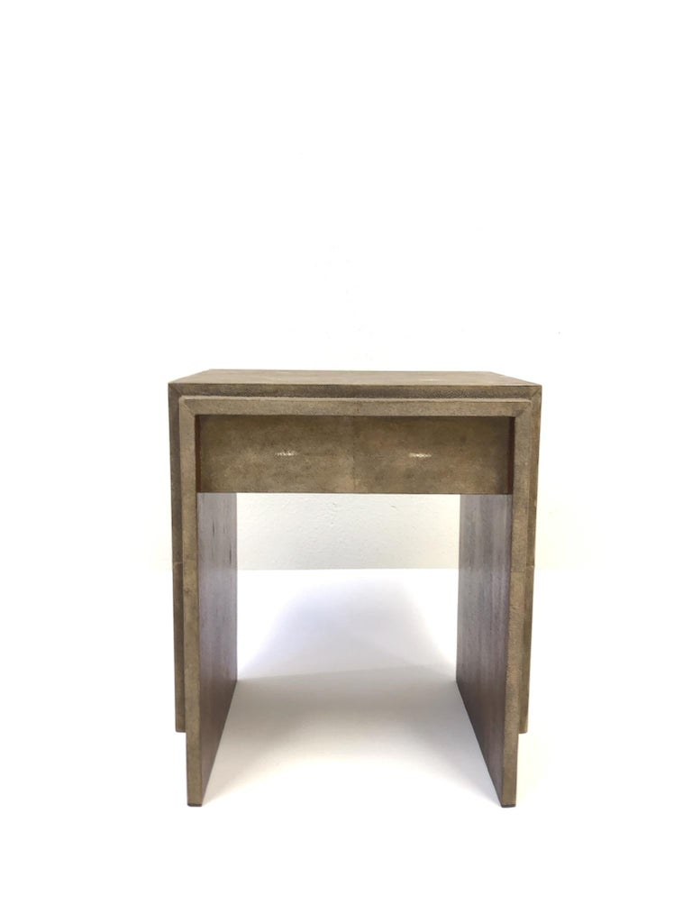 French Shagreen and Mahogany Side Table by R&Y Augousti In Excellent Condition In Palm Springs, CA