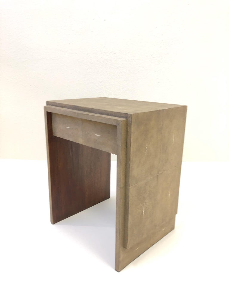 1990s French Shagreen and Mahogany Side Table by R&Y Augousti