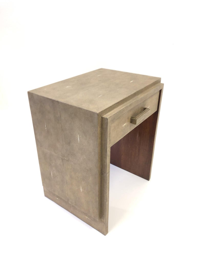 French Shagreen and Mahogany Side Table by R&Y Augousti 1