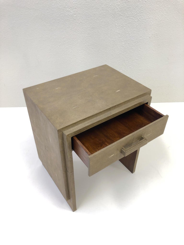 French Shagreen and Mahogany Side Table by R&Y Augousti 3