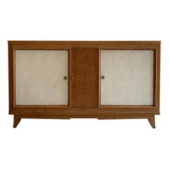 French Shagreen Oak Panelled Sideboard 1940s Maison Arbus