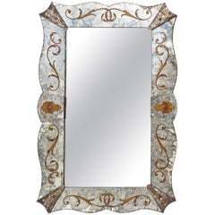 French Shaped Venetian Style Eglomisée Mirror, circa 1940