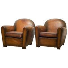 """French Sheep Hide """"Cinema"""" Lounge Chairs, circa 1940"""