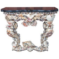 French Shell Console Table, Baroque Grotto Style