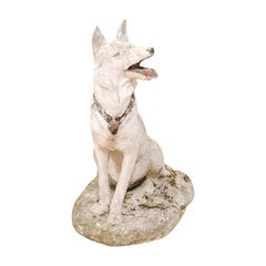 French Shepherd Dog Garden Statue from Early 20th Century, Nicely Sized