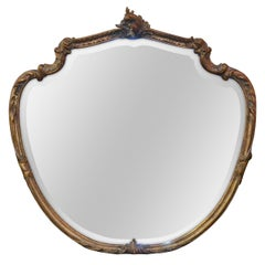French Shield Shaped Bevelled Mirror, circa 1920