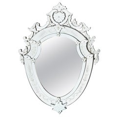 French Shield Shaped Venetian Style Mirror, circa 1900