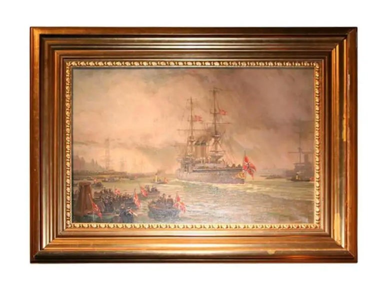 French ships at dock, signed illegibly LR 'Barlhey, giltwood frame.  We also have numerous other ship paintings and models.  Feel free to call or email with questions.