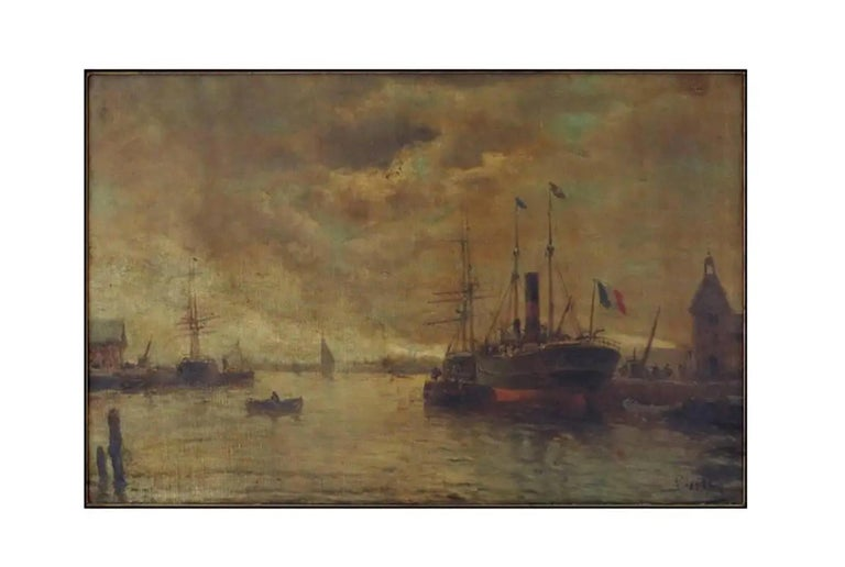 19th Century French Ships at Dock, Signed Illegibly