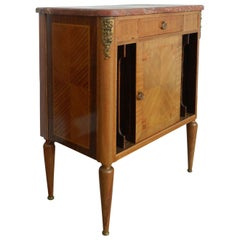 French Side Cabinet Louis XVI Rev Nightstand Marquetry Ormolu, circa 1920