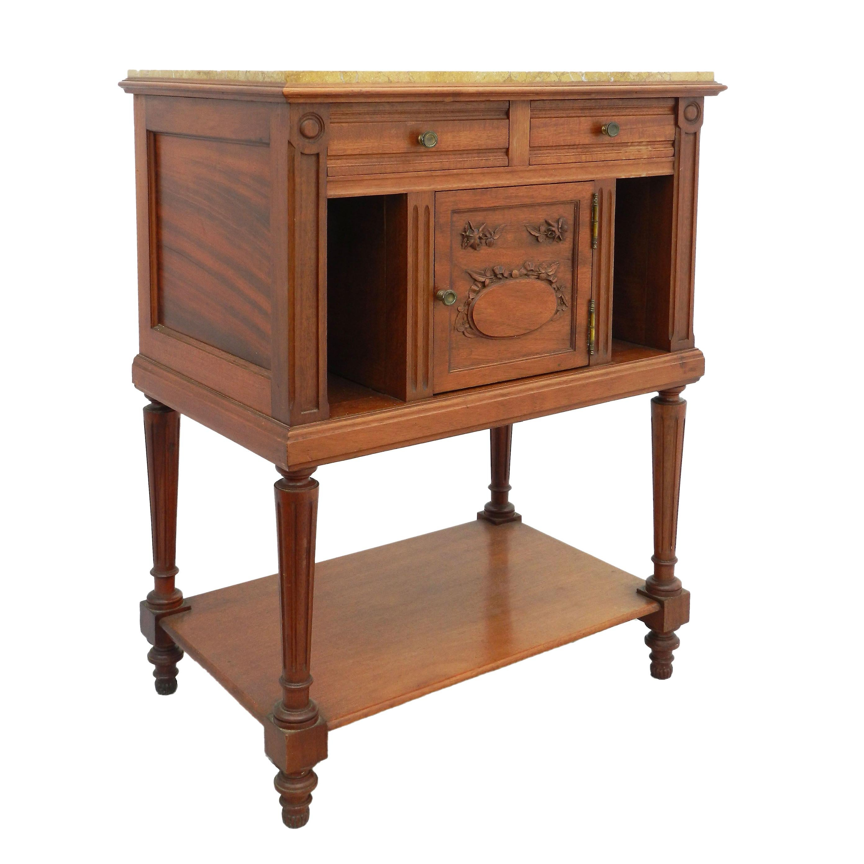French Side Cabinet Nightstand Bedside Table 19th Century Louis XVI