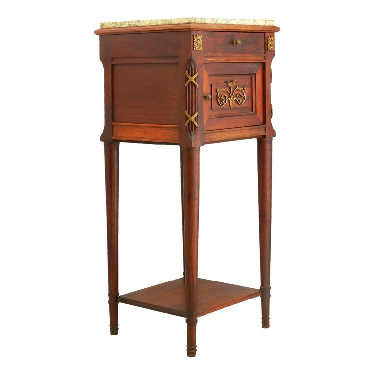 French Side Cabinet Nightstand Bedside Table Late 19th Century Louis XVI For Sale
