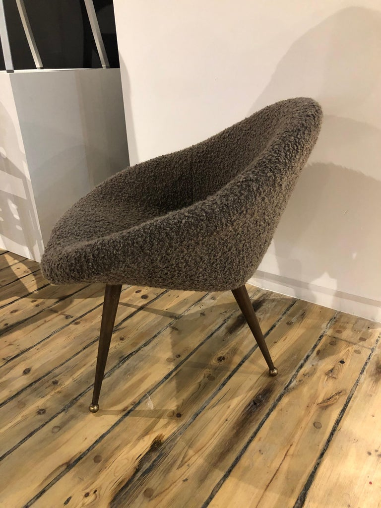 Elegant side chair on wood and brass legs reupholstered in Roger & Goffigon wool.