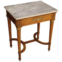 French Side Table in Mahogany Wood with Marble Top, 19th Century