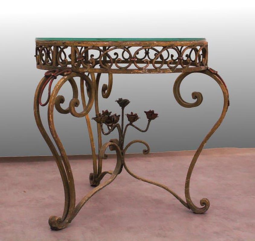 Side Table Round Coffee Gl Top Wrought Iron Circa 1900 Use Or Customise