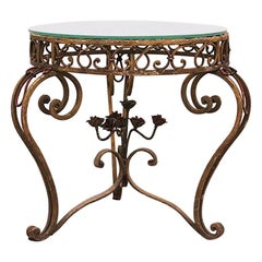 Side Table Round Coffee Glass Top Wrought Iron circa 1900 Use or Customise