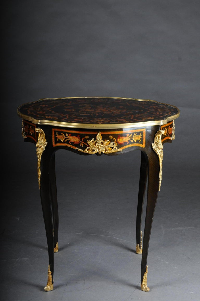French side table / salon table Napoleon III marquetry