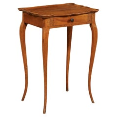 French Side Table w/Single Drawer and Rectangular-Shaped Pie-Crust Top, 19th C