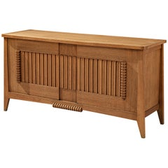 French Sideboard in Solid Oak with Carved Details