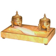 French Sienna Marble and Ormolu Pentray