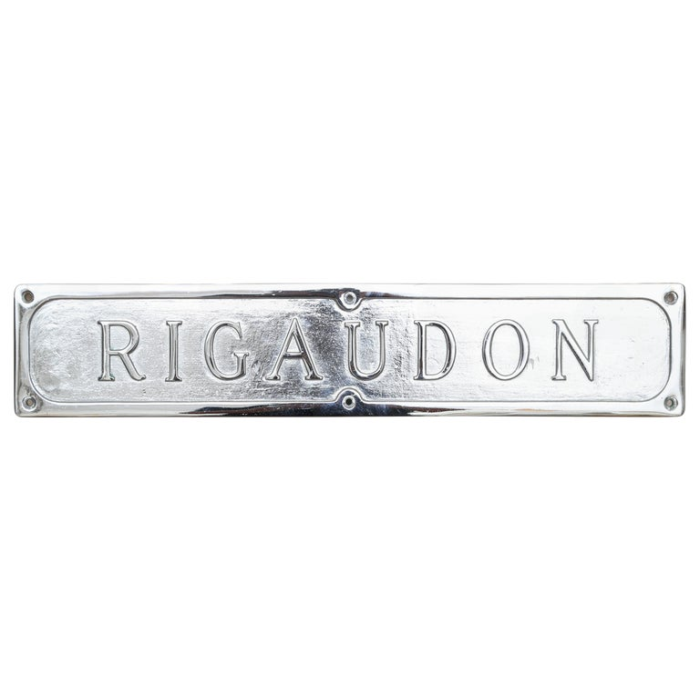 "French Sign ""Rigaudon"" For Sale"