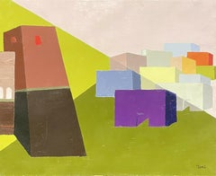 CONTEMPORARY FRENCH CUBIST ABSTRACT - GEOMETRIC COMPOSITION OF OLD TOWN