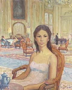 SIGNED FRENCH OIL - LADY SEATED IN LE MEURICE HOTEL PARIS TEA SALON INTERIOR