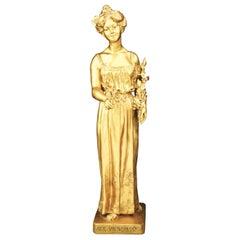 "French, Signed A. Vibert"", C 1890's, Fine Gilt Bronze Female Statue"