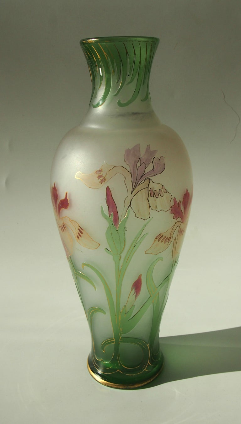 French Signed Art Nouveau Pantin Iris Cameo and Enamel Glass Vase In Good Condition For Sale In London, GB