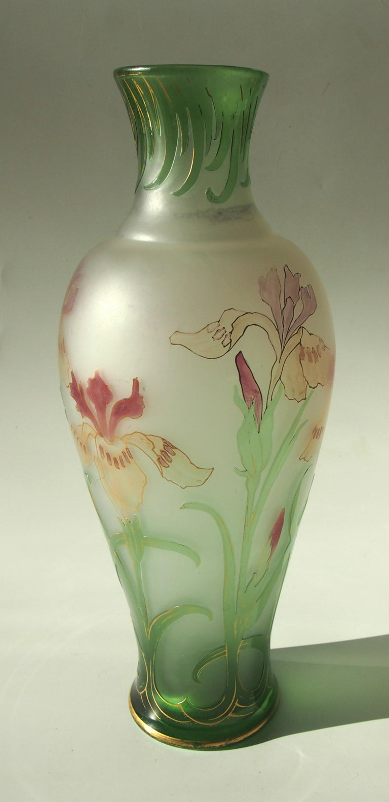 Late 19th Century French Signed Art Nouveau Pantin Iris Cameo and Enamel Glass Vase For Sale