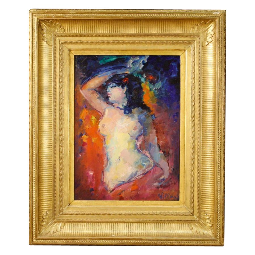 French Signed Female Nude Painting, 20th Century