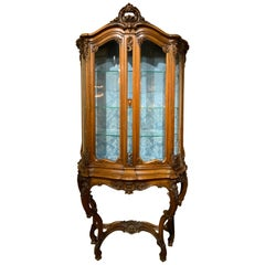 French Signed Sormani Display Cabinet, Walnut Louis XV-Style