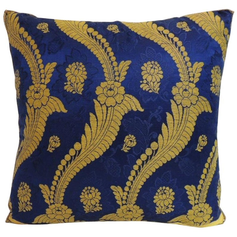 French Silk Brocade Royal Blue and Gold Embroidered Decorative Pillow For Sale